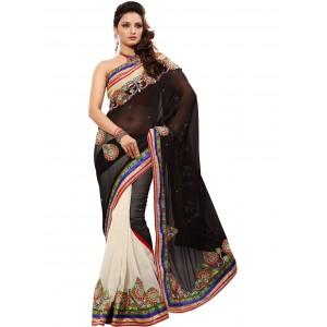 black-and-white half-saree.